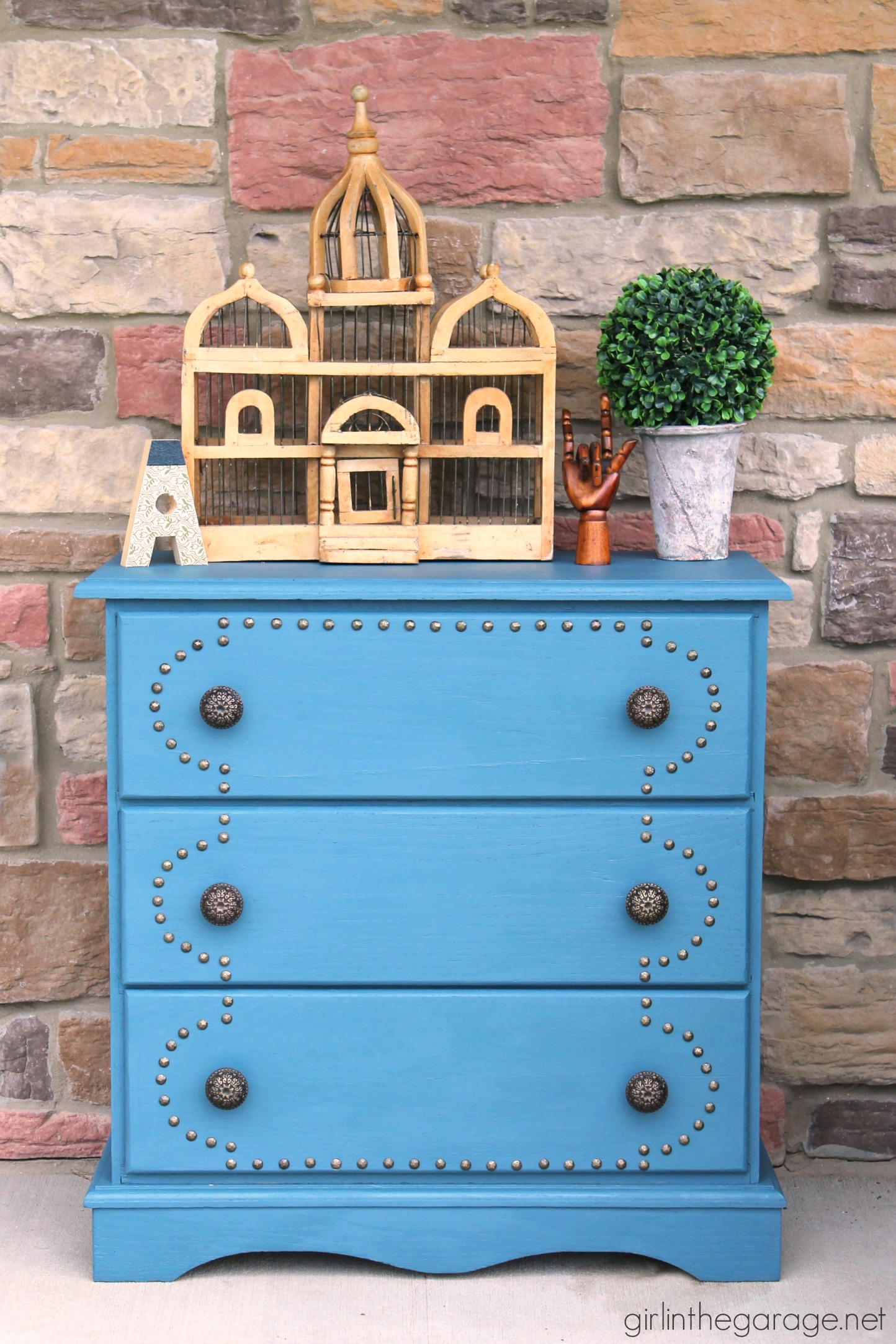 Aubusson Blue Dresser with Upholstery Tacks - Girl in the Garage