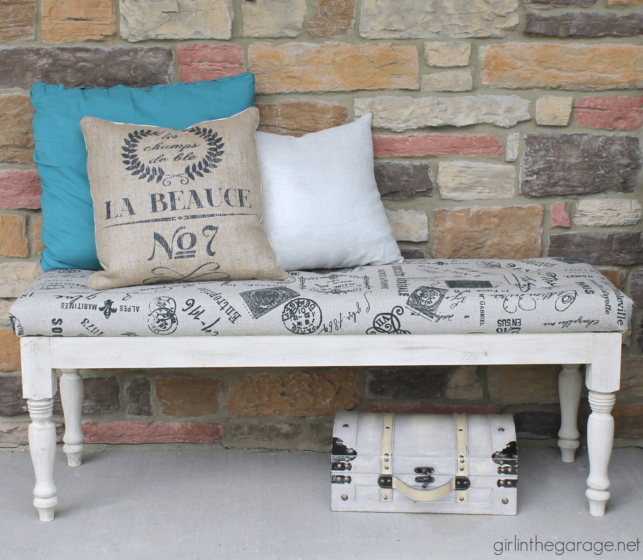 DIY Reupholstered tufted bench makeover - Girl in the Garage