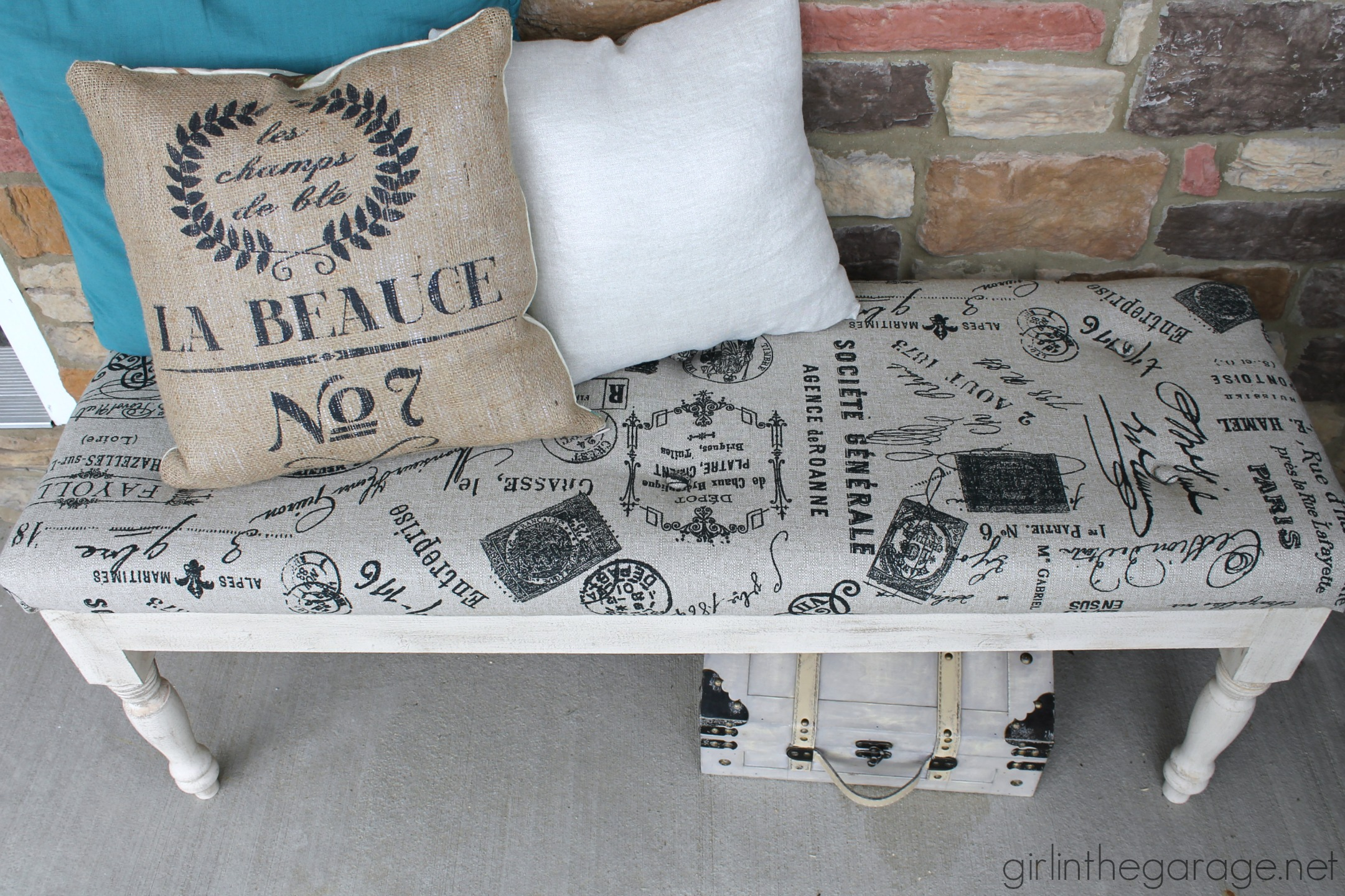 DIY Tufted Reupholstered Bench from Girl in the Garage