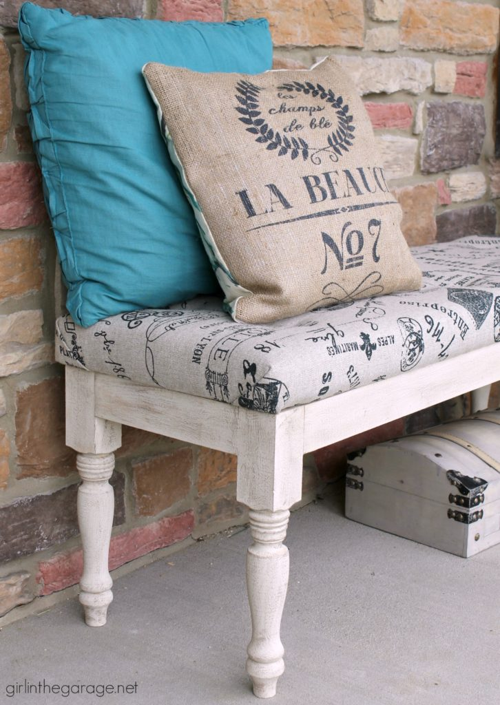 DIY Tufted Upholstered Bench Makeover Tutorial by Girl in the Garage