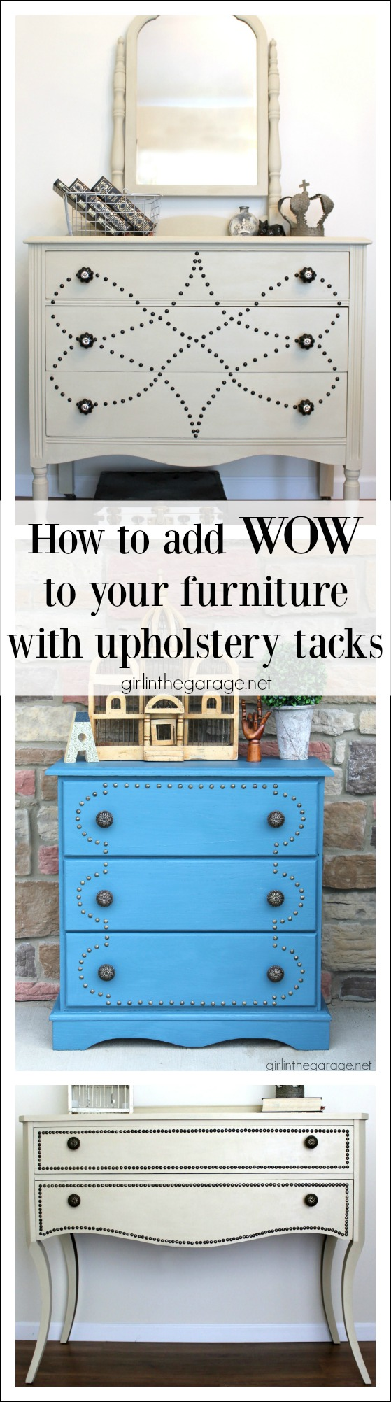How to add WOW to furniture with upholstery tacks - girlinthegarage.net