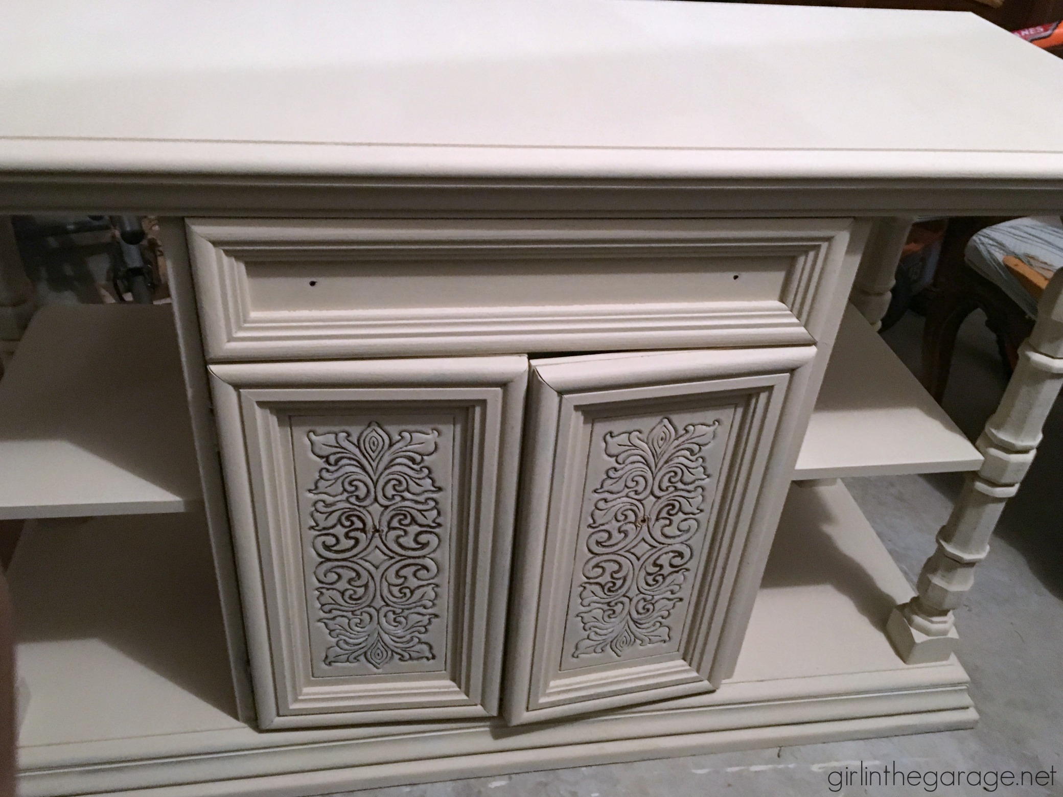 Dry Brushed Farmhouse Buffet Makeover - Girl in the Garage