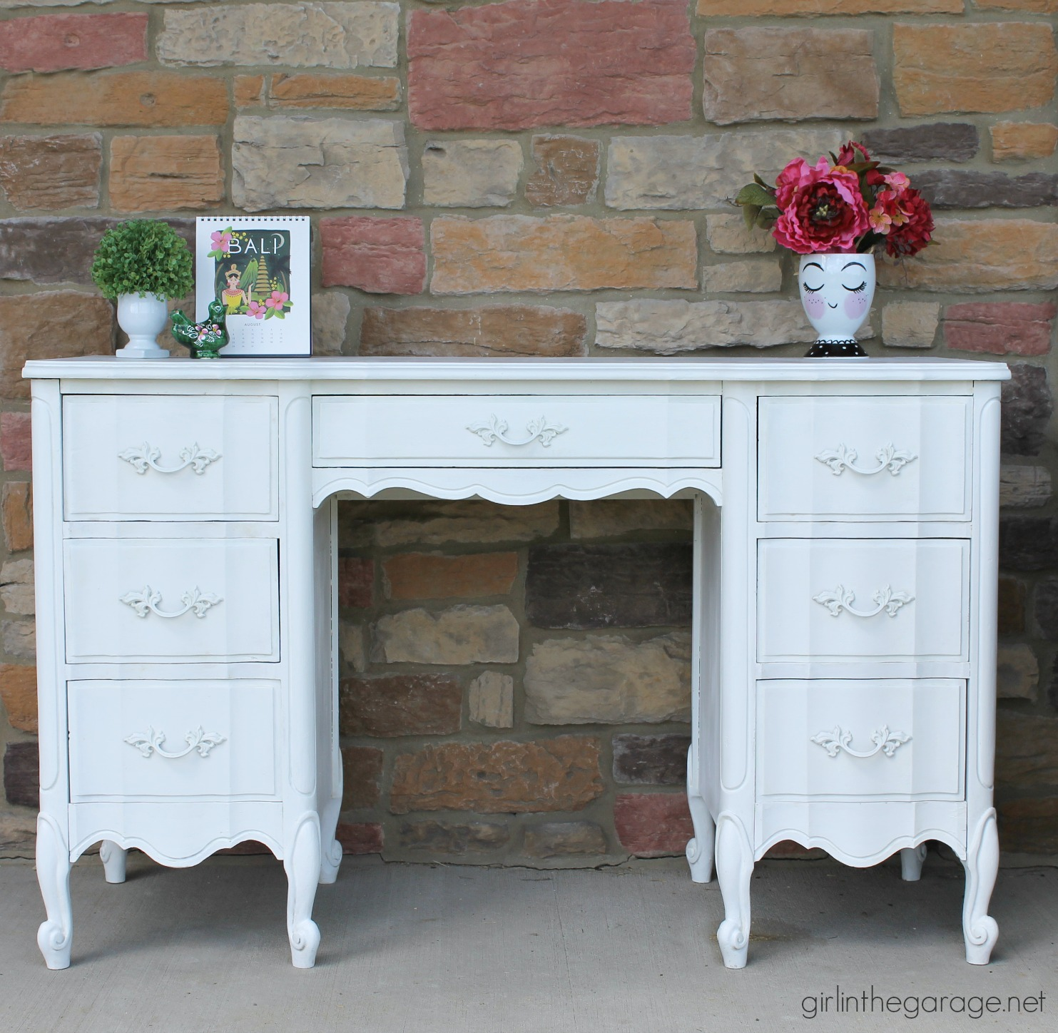 French Provincial Desk Makeover with Pink Drawers - Girl in the Garage