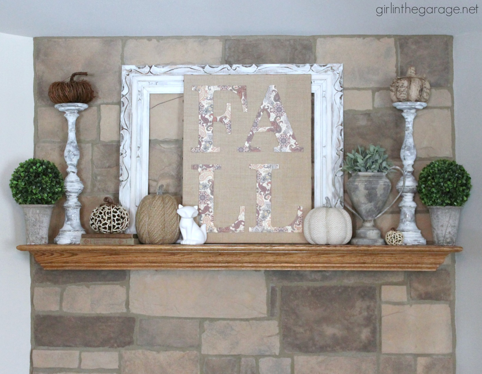 Neutral fall mantel decorating ideas - Girl in the Garage