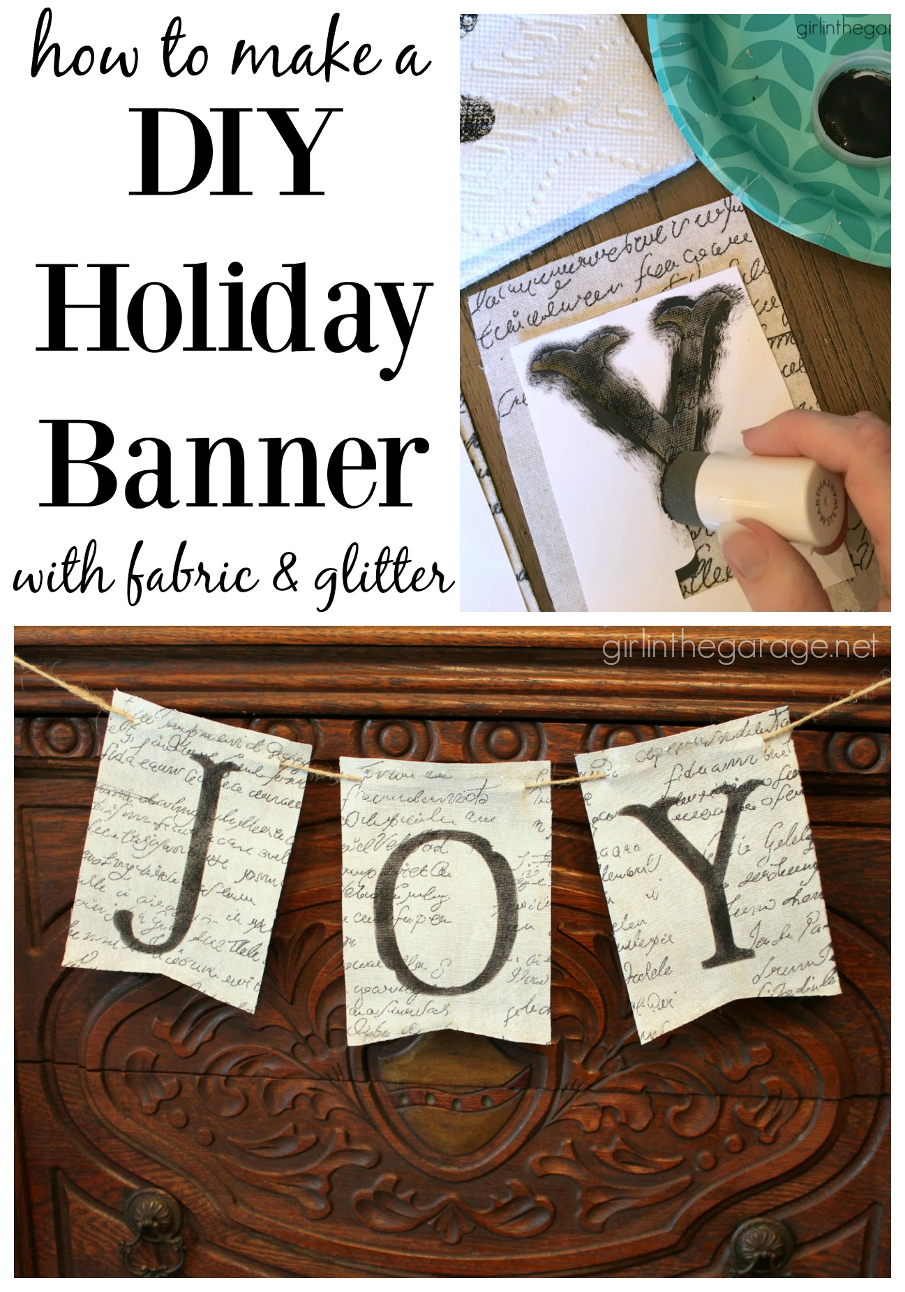 How to make an easy DIY fabric banner with glitter for the holidays - Girl in the Garage