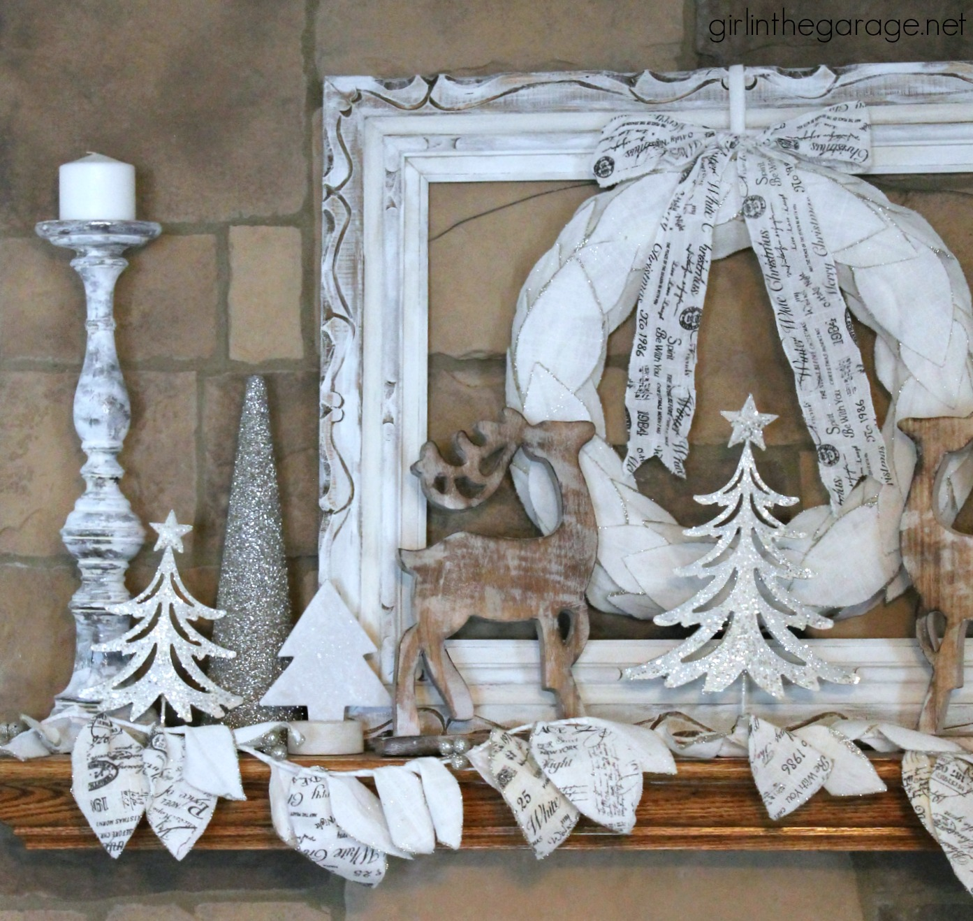 Christmas Decorating - Sparkly White Winter Mantel - Girl in the Garage