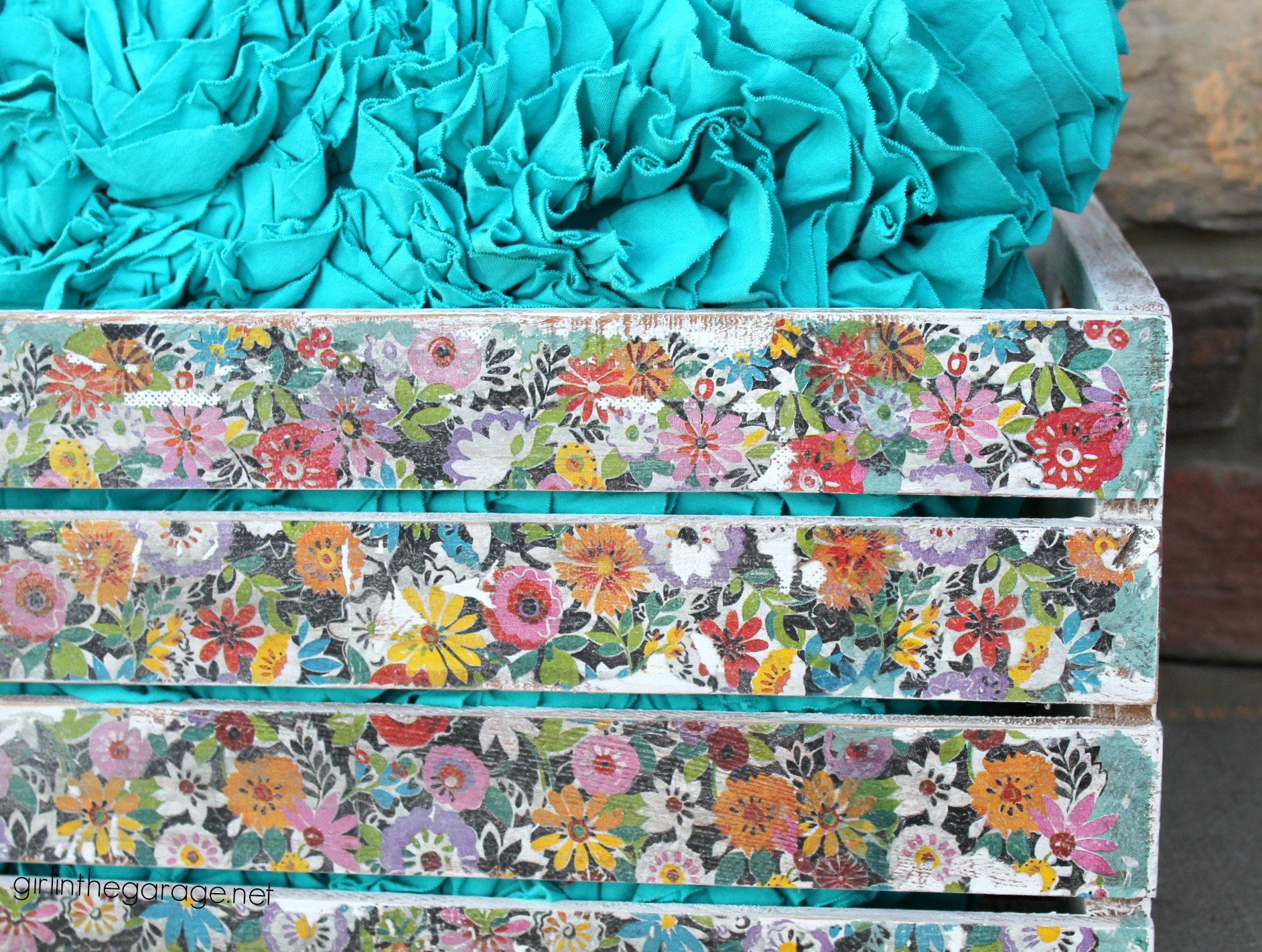 Decoupage Napkins - Upcycled Wooden Crate - DIY Makeover - girlinthegarage.net