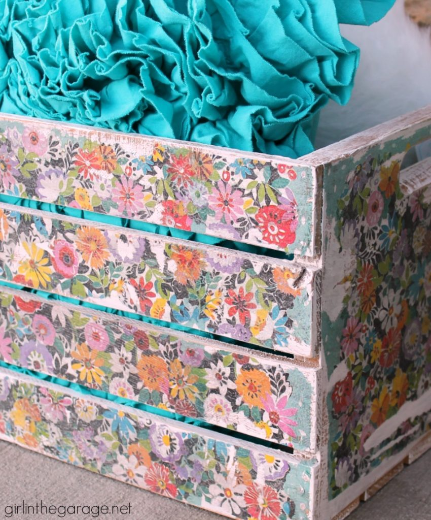 Decoupage crate makeover with napkins - DIY tutorial by Girl in the Garage