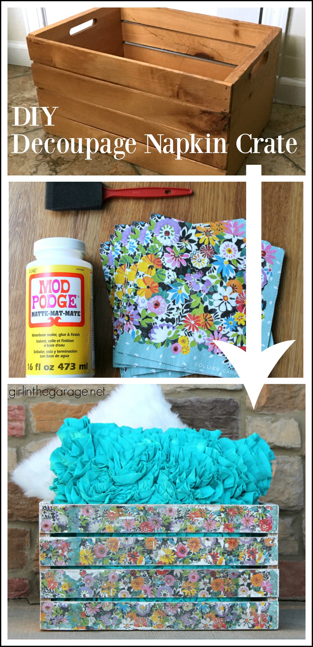 Decoupage Wood with Napkins - Upcycled Wooden Crate - DIY Makeover - girlinthegarage.net