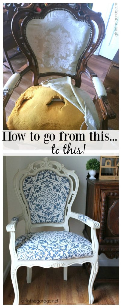 DIY Reupholstered Chair Makeover - Girl in the Garage