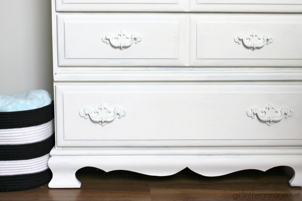 Vintage Dresser Makeover in Old White Chalk Paint by Annie Sloan. By Girl in the Garage