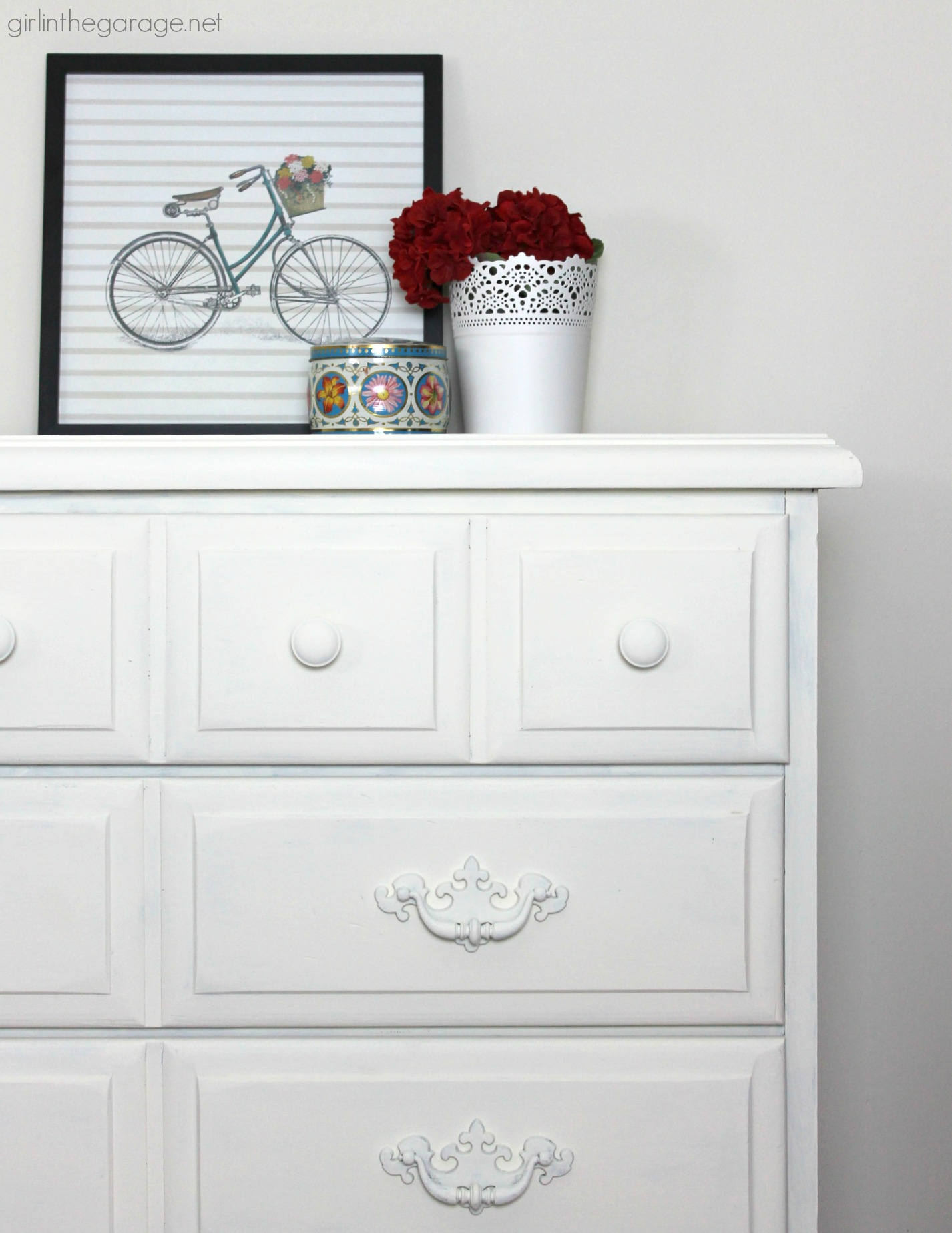 DIY Vintage dresser makeover with Annie Sloan Chalk Paint by Girl in the Garage