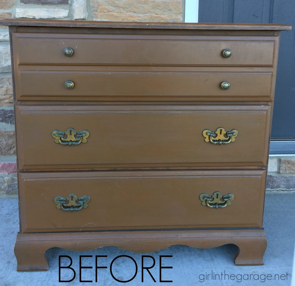 Vintage Duck Egg Blue Dresser Makeover with Decoupage Drawers - Girl in the Garage