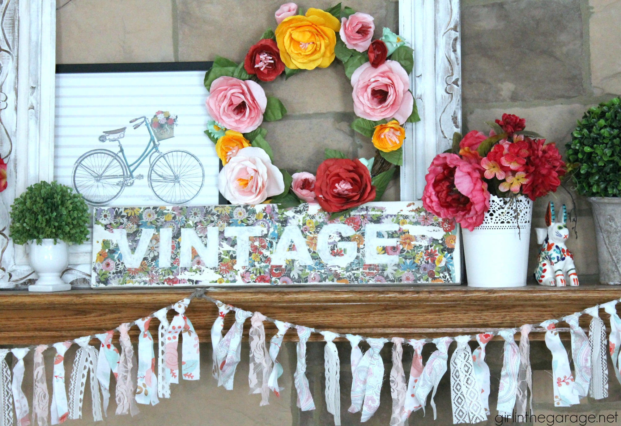 DIY Vintage Sign with Decoupage Napkins and a Colorful Spring Mantel. Girl in the Garage