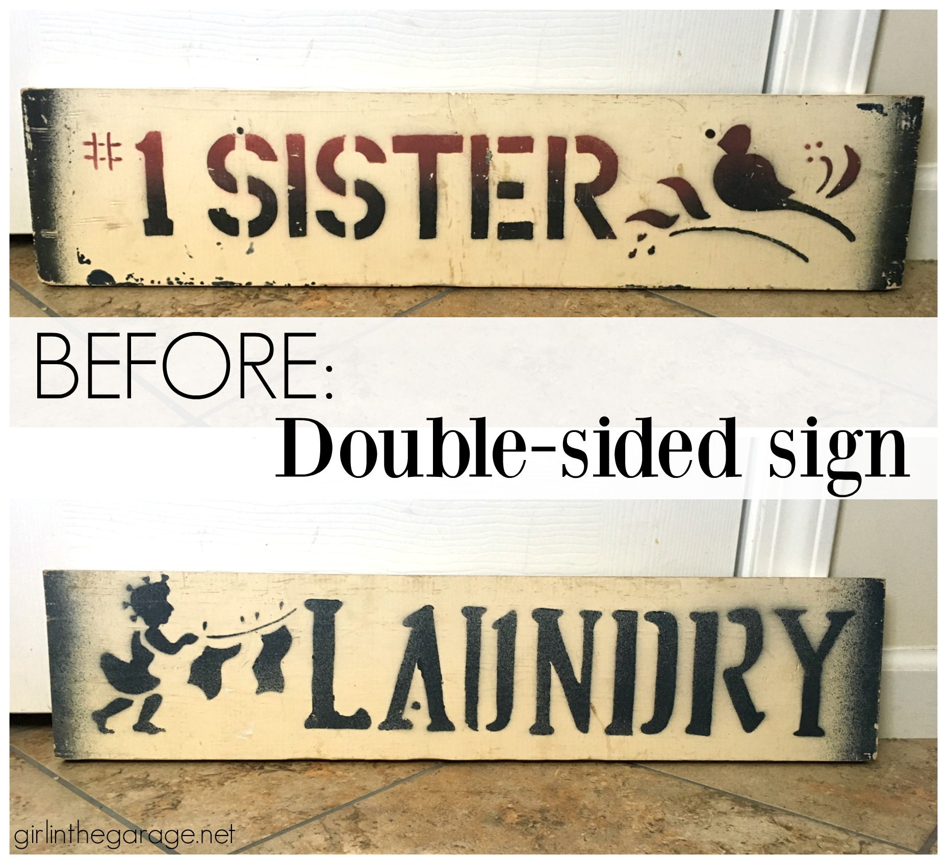 Upcycled Goodwill Sign + Colorful Spring Mantel