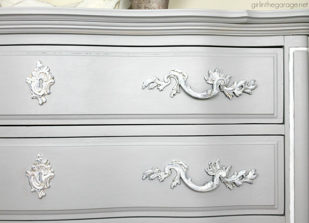 Glamorous French Provincial dresser makeover in Fusion Mineral Paint. By Girl in the Garage