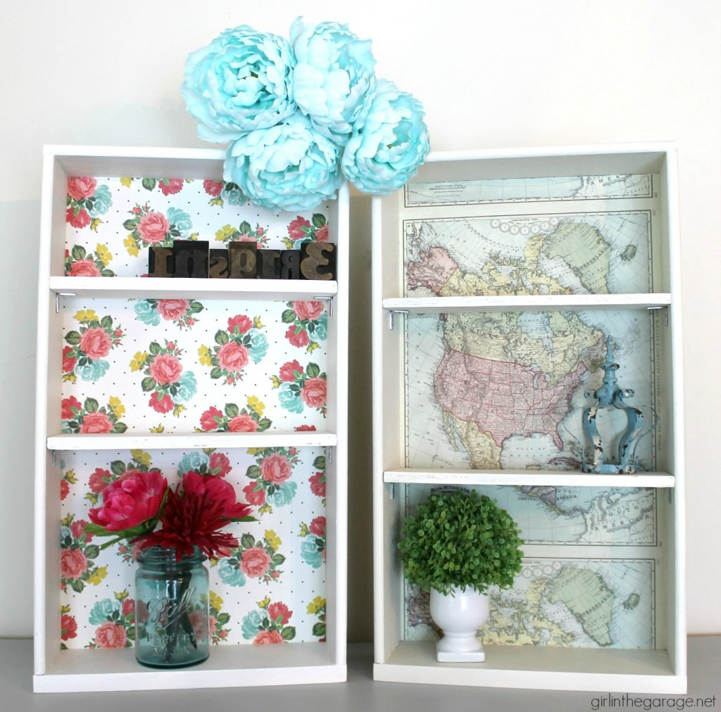 Repurposed drawers to decoupage shelves - Girl in the Garage