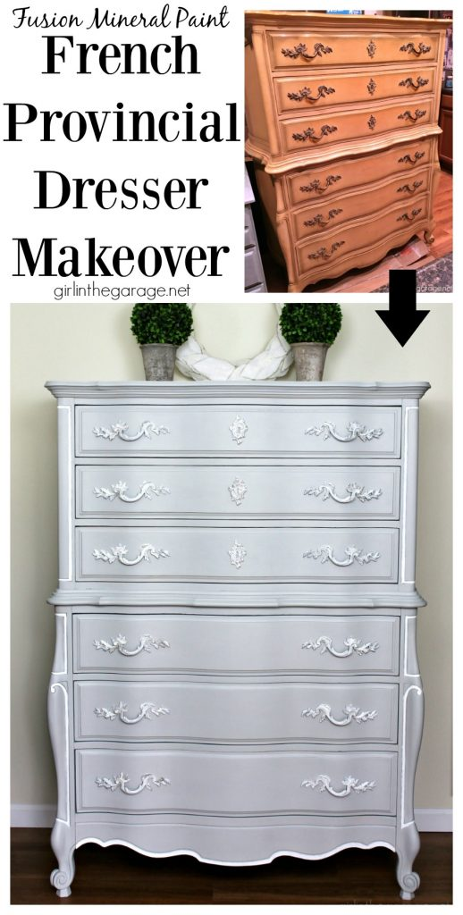 French Provincial painted dresser + How to get rid of smells in furniture. Furniture makeover ideas by Girl in the Garage