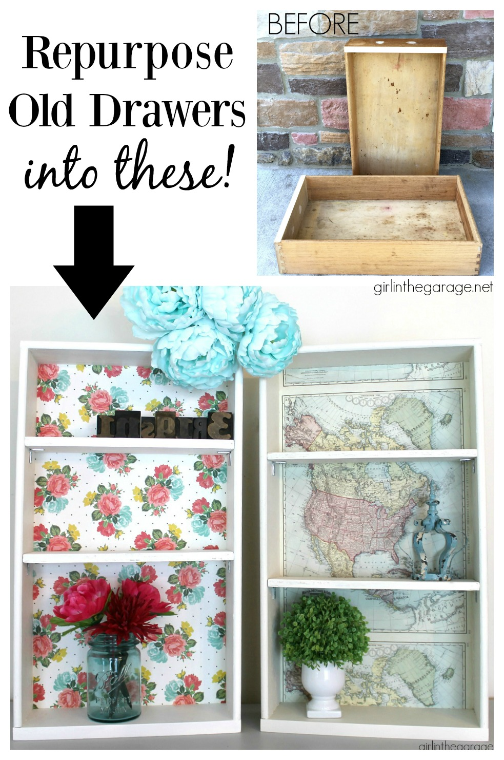Upcycled drawers to decoupage shelves - Girl in the Garage
