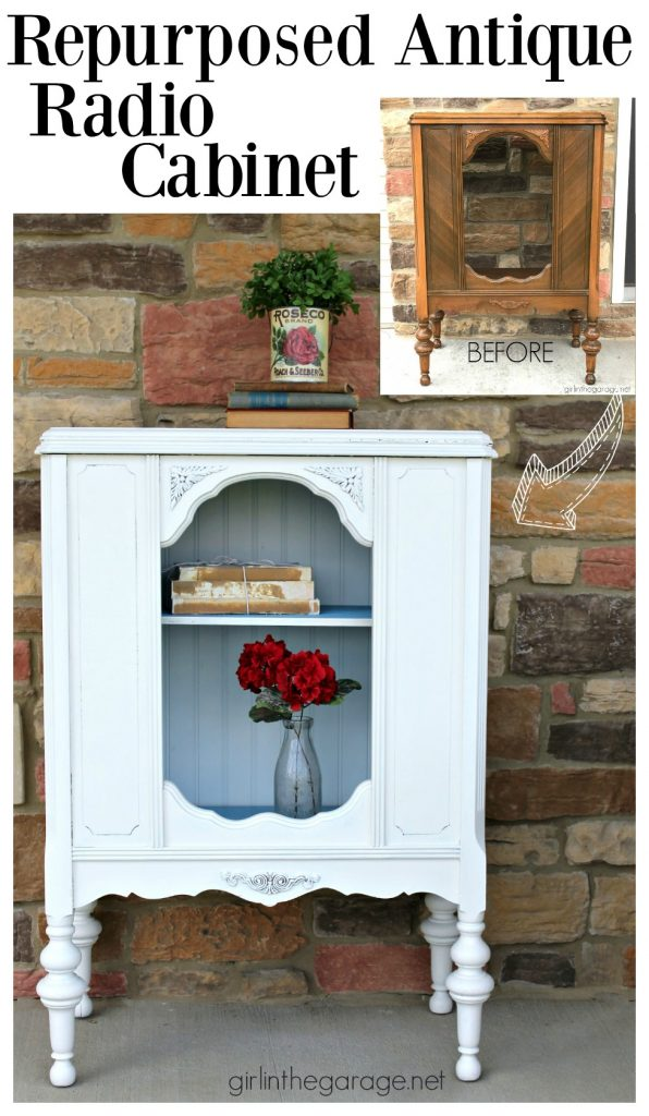 Repurposed Antique Radio Cabinet Makeover - Girl in the Garage