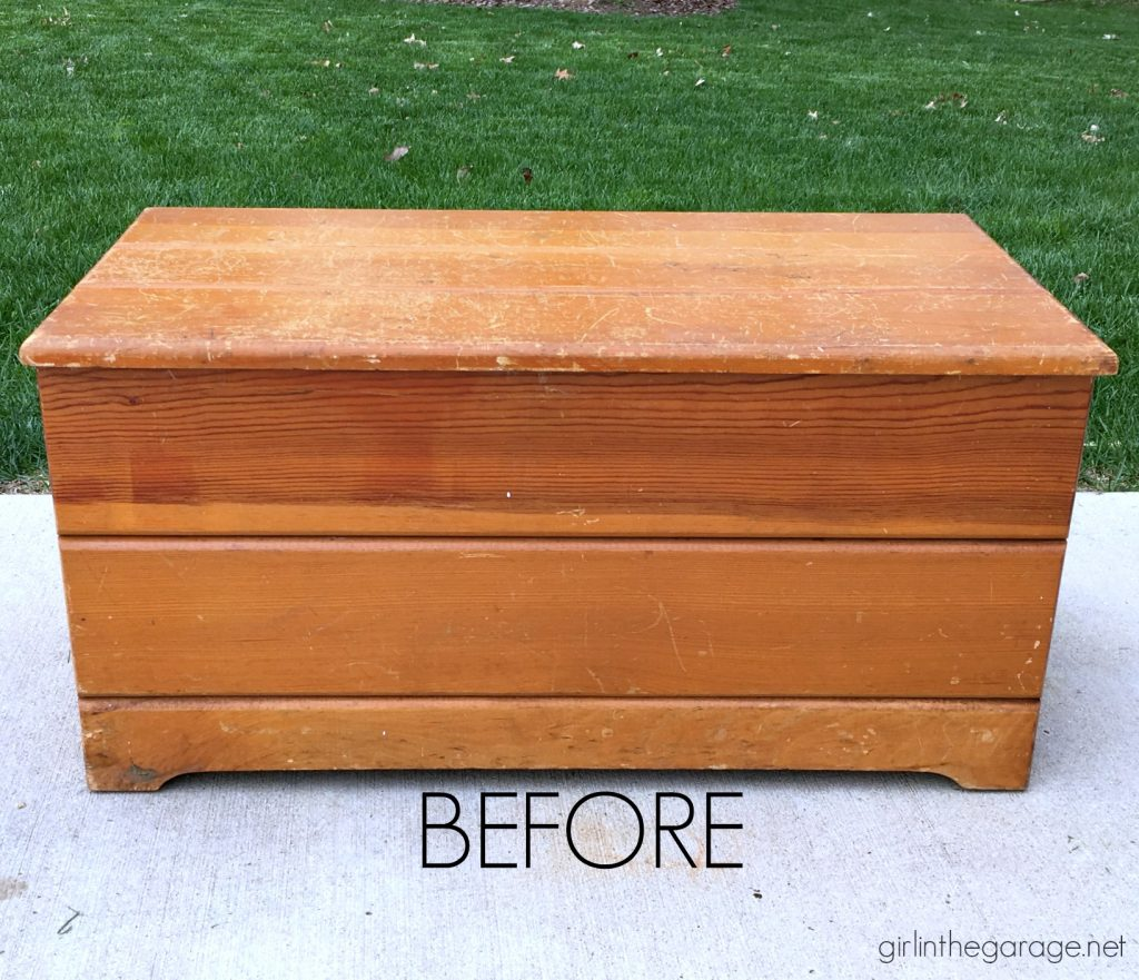 DIY Farmhouse style wood chest makeover I Girl in the Garage