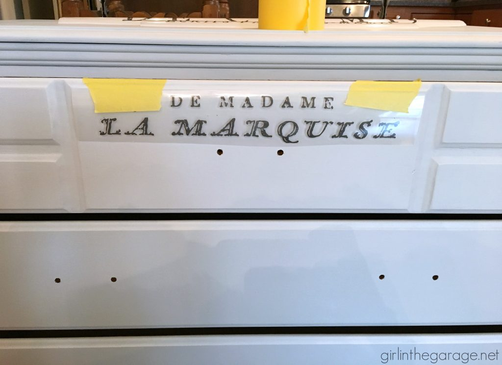 Vintage vanity makeover + Easy French image transfer method by Girl in the Garage