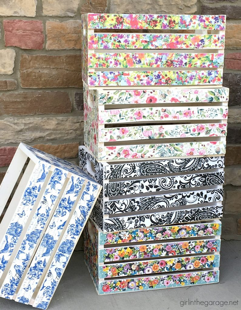 Decoupage Crates, Framed Cork Boards, and Drawer Shelves - Girl in the Garage