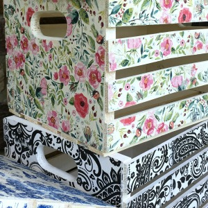 Decoupage Napkin Crates, Framed Cork Boards, and Drawer Shelves