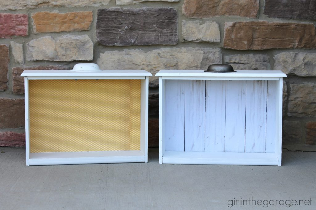 Repurposed drawers to shelves - Girl in the Garage
