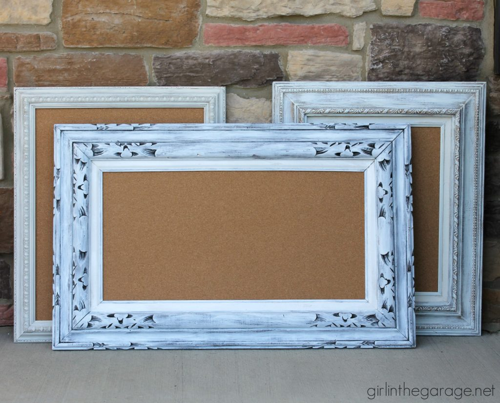 Repurposed vintage art to framed cork boards - Girl in the Garage