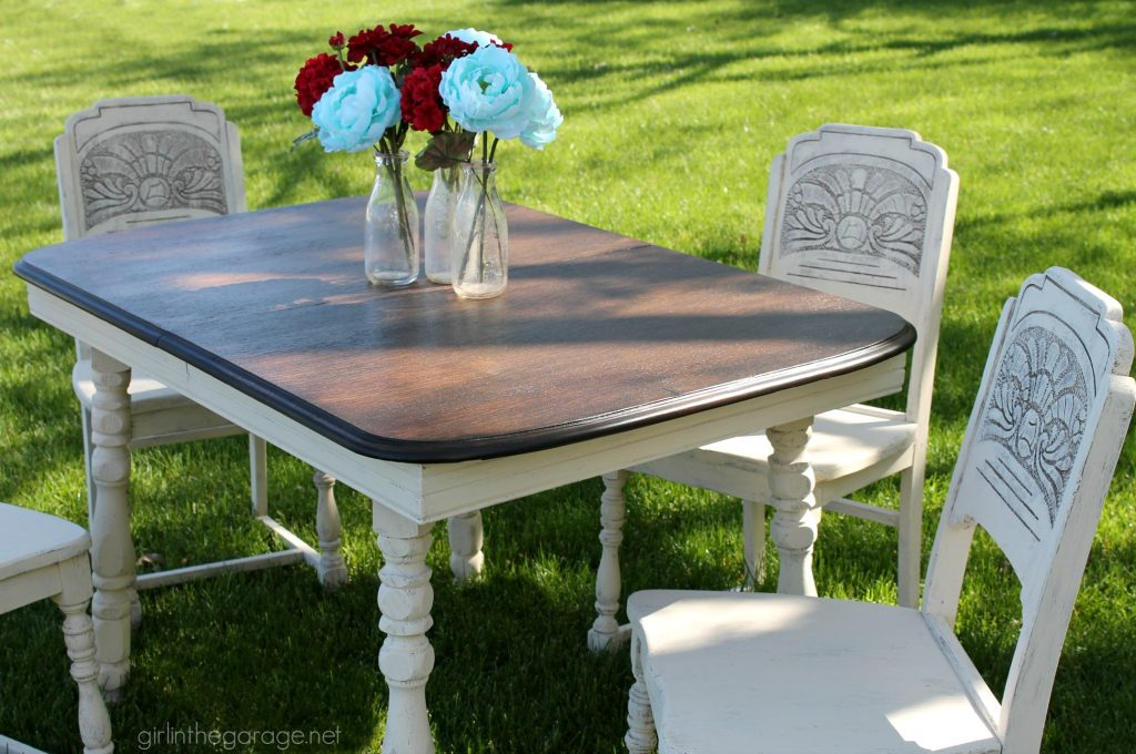DIY antique carved dining set makeover with stained top and Annie Sloan Chalk Paint in a farmhouse style finish. Girl in the Garage