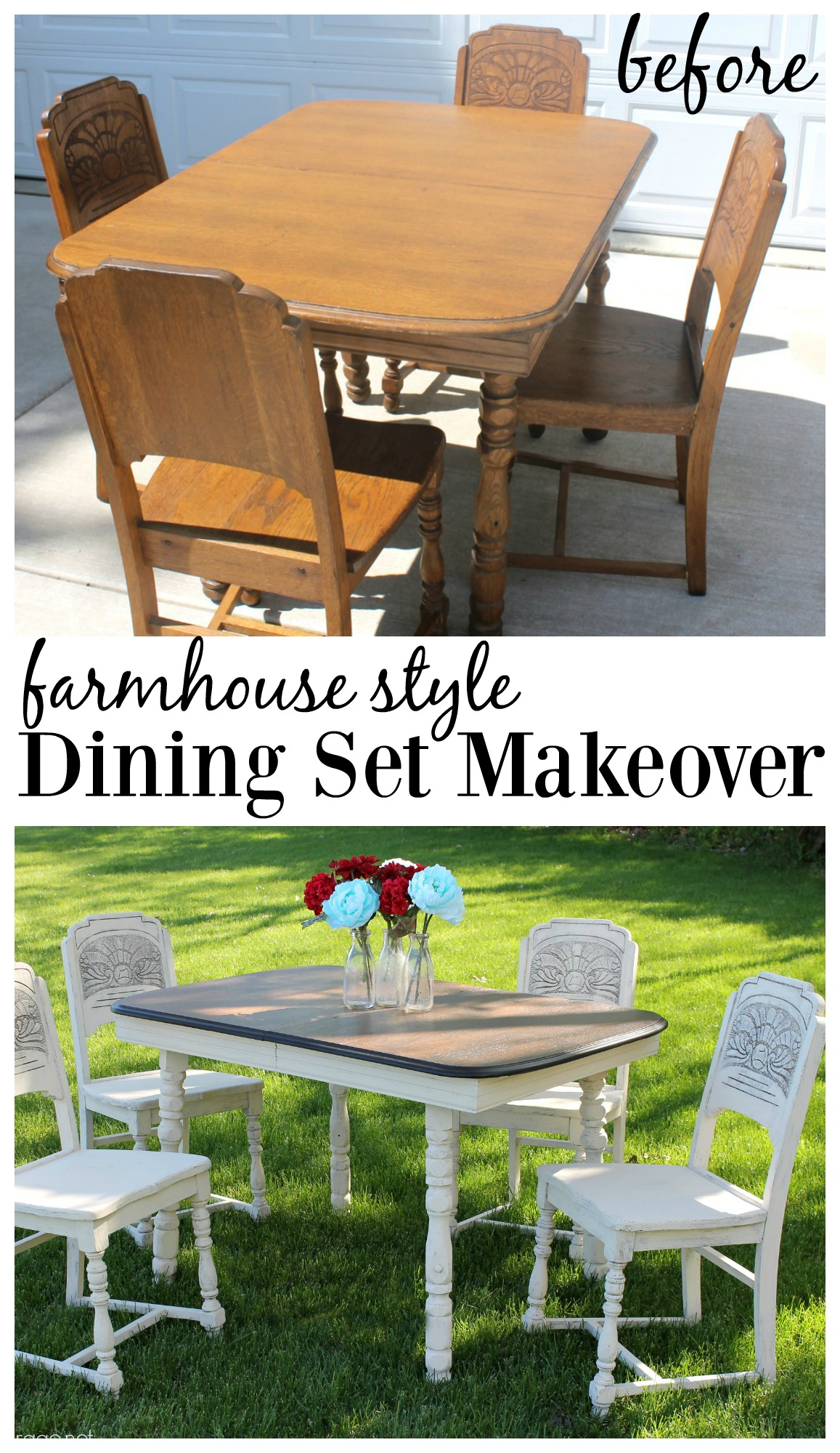Farmhouse style antique dining set makeover girl in the for Farmhouse style dining set