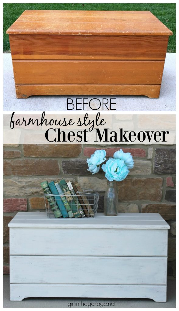 Farmhouse Style Wooden Chest Makeover - Girl in the Garage