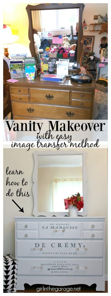 Vintage vanity makeover + Easy French image transfer method - tutorial by Girl in the Garage