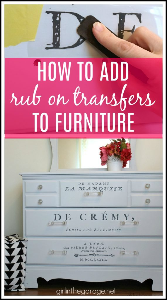 How to add easy image transfers to furniture - Rub-on image transfer method - DIY vanity makeover - Tutorial by Girl in the Garage