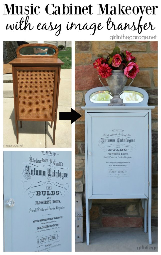 Antique music cabinet makeover I Easy image transfer I Fusion Mineral Paint I Girl in the Garage
