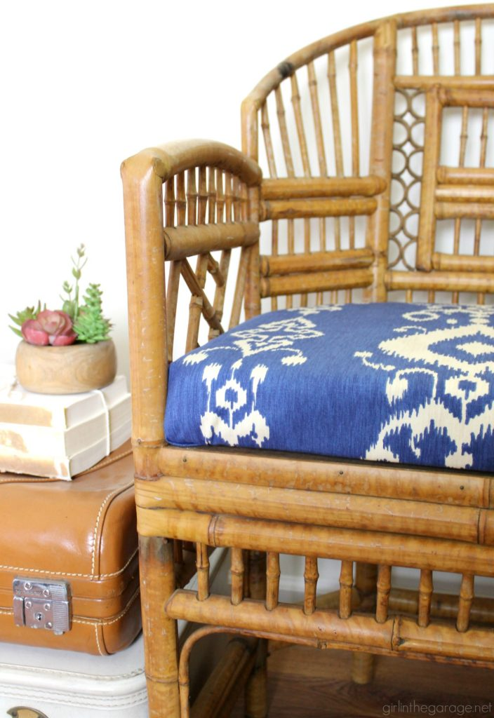 Bamboo chair makeover refresh - and how to make a new seat for a chair. By Girl in the Garage