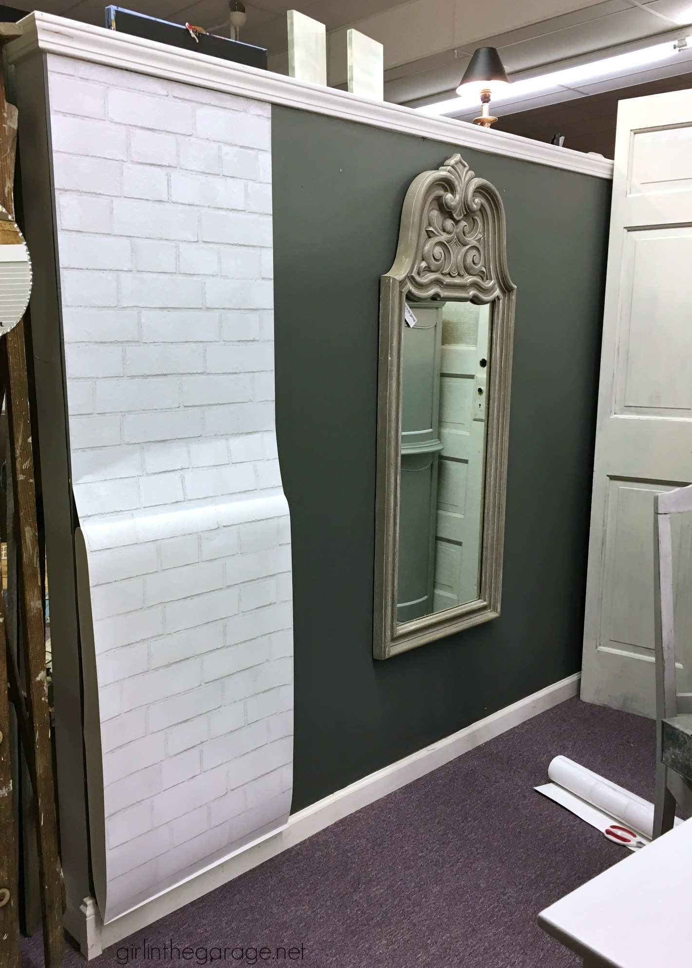 How to Hang Removable Faux Brick Wallpaper (Antique Booth ...