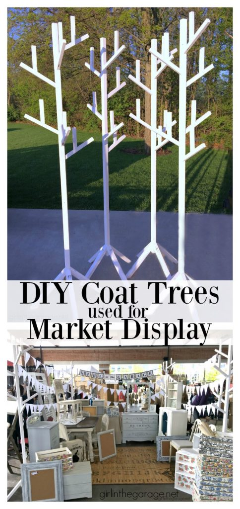 DIY coat trees used for vintage market display - Girl in the Garage