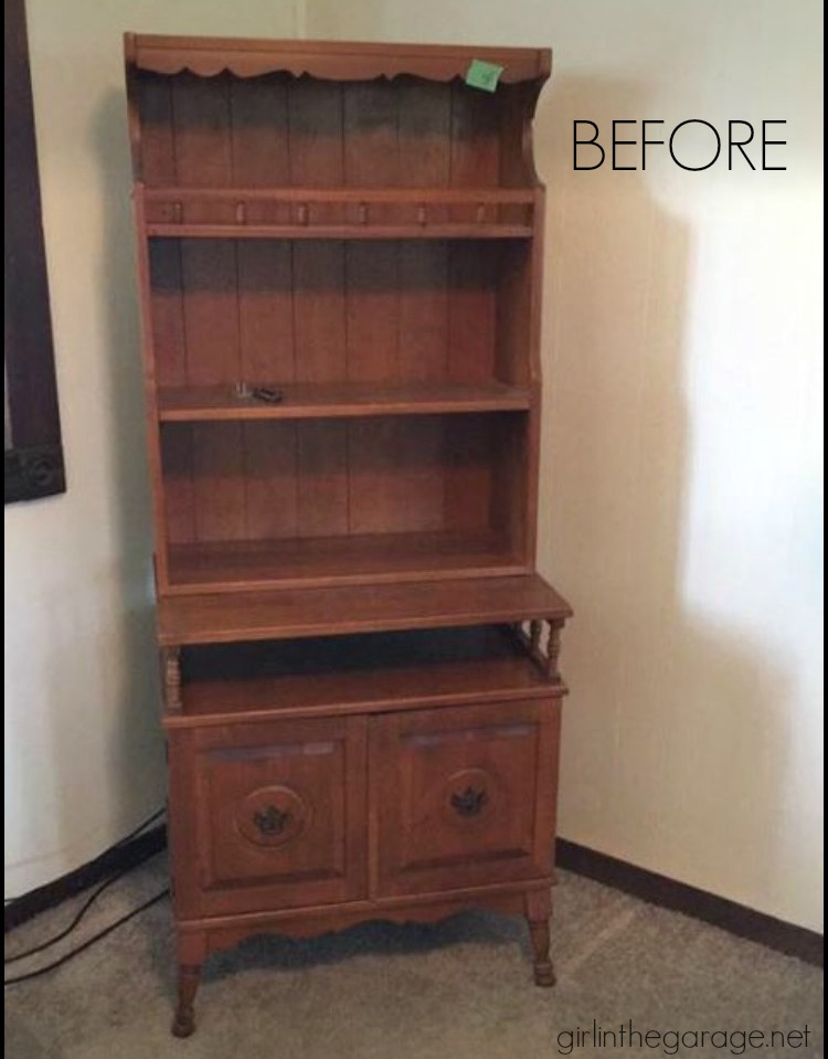 Charming farmhouse style bookcase makeover with distressed Annie Sloan Chalk Paint. Girl in the Garage