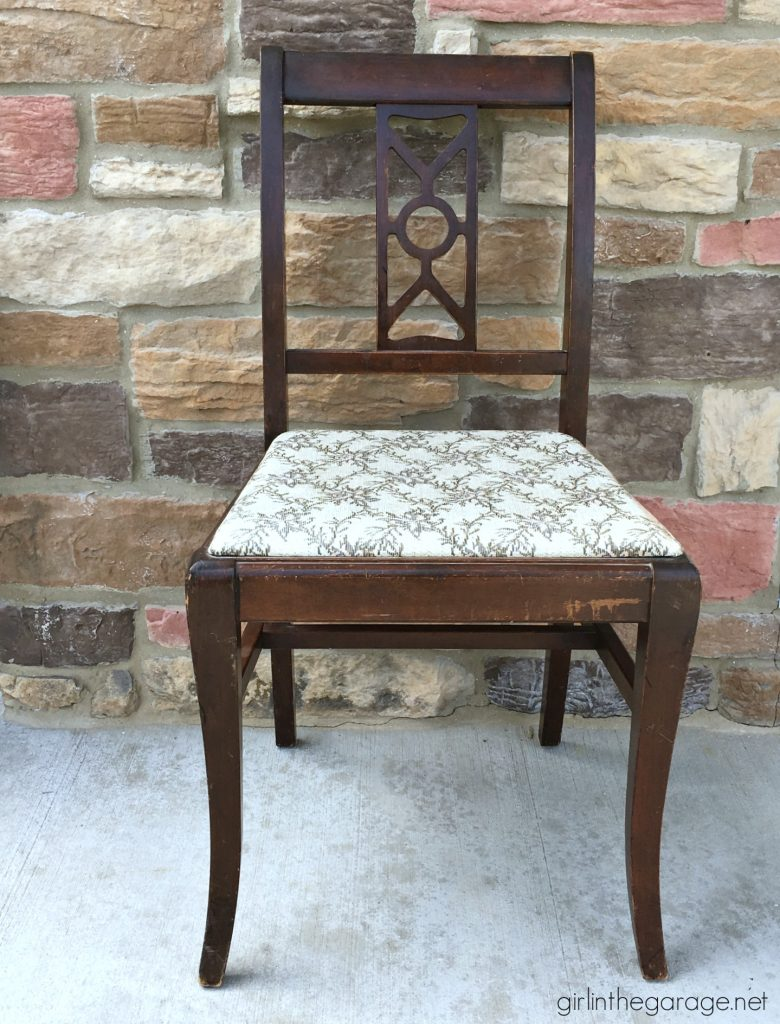 Easy vintage chair makeover with paint and fabric. Girl in the Garage