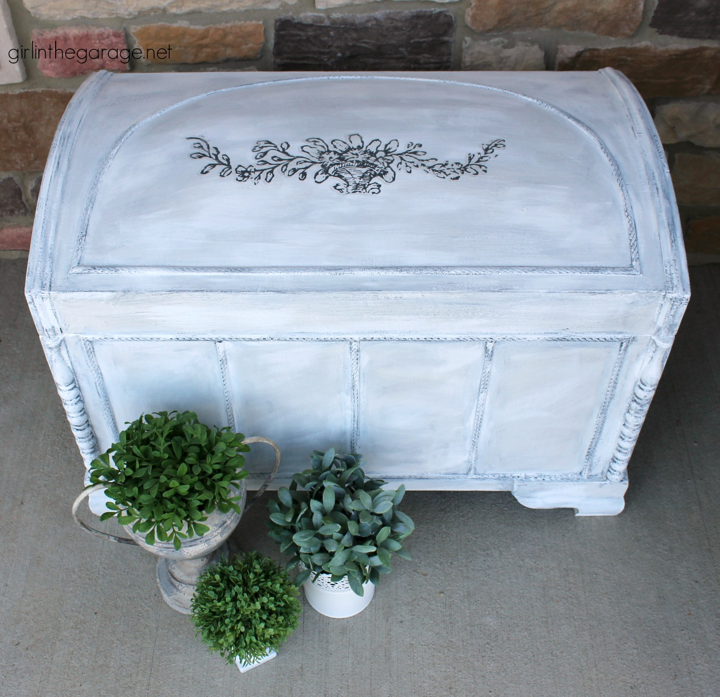 Beautiful painted cedar chest ideas for vintage, antique, Lane, and wooden chests. DIY painted furniture ideas by Girl in the Garage