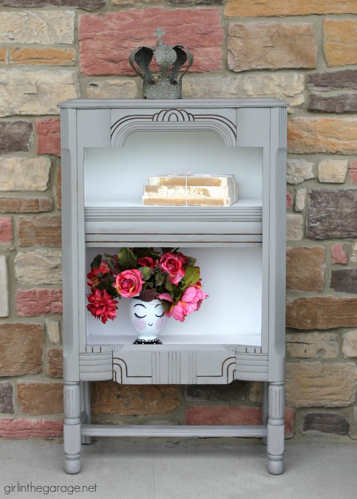 DIY Repurposed radio cabinet makeover to bookshelf - Girl in the Garage