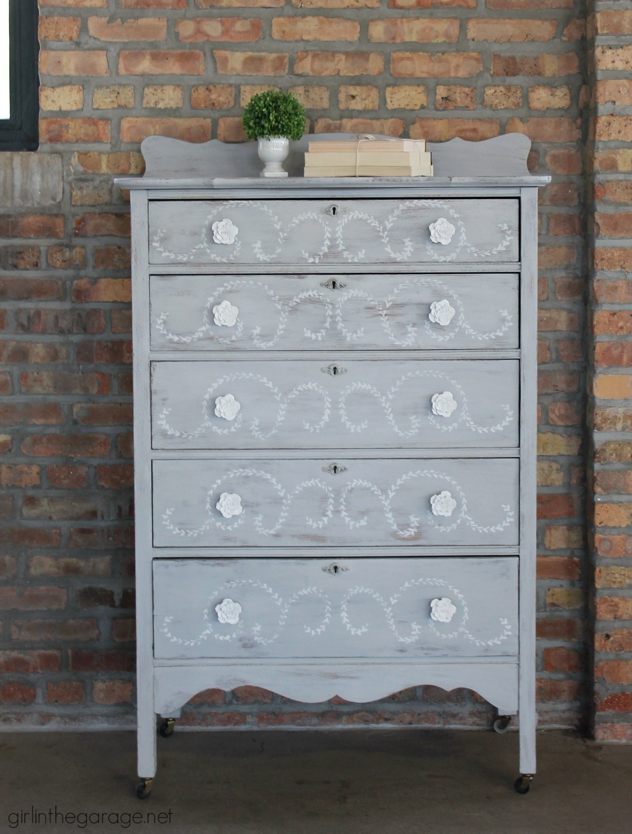 Stenciled highboy dresser - Girl in the Garage