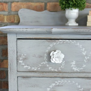 Distressed Stenciled Highboy Makeover
