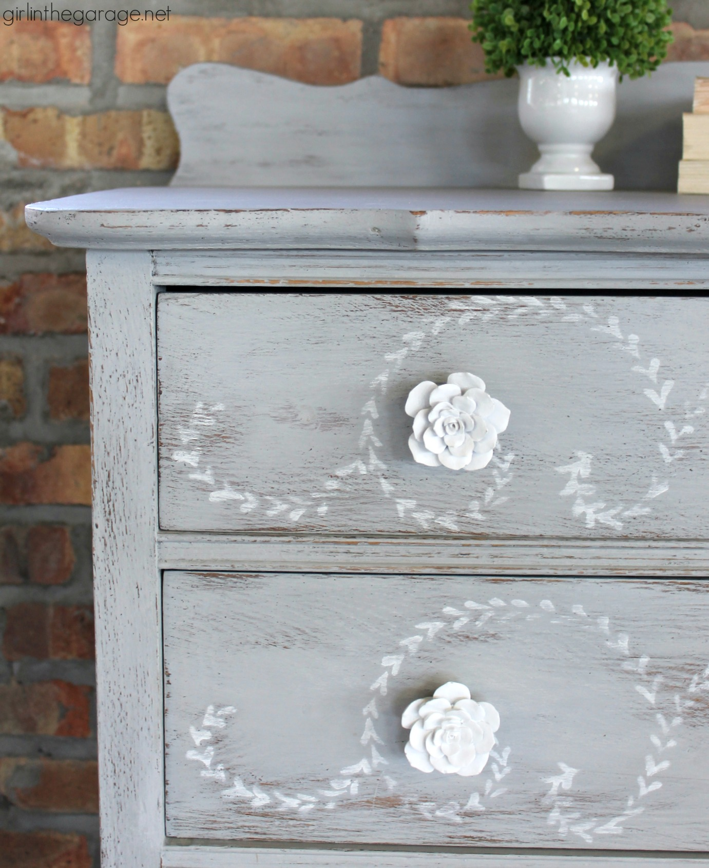 Diy Distressed Stenciled Feminine Highboy Makeover With Chalk Paint And Miss Mustard Seed Stencil