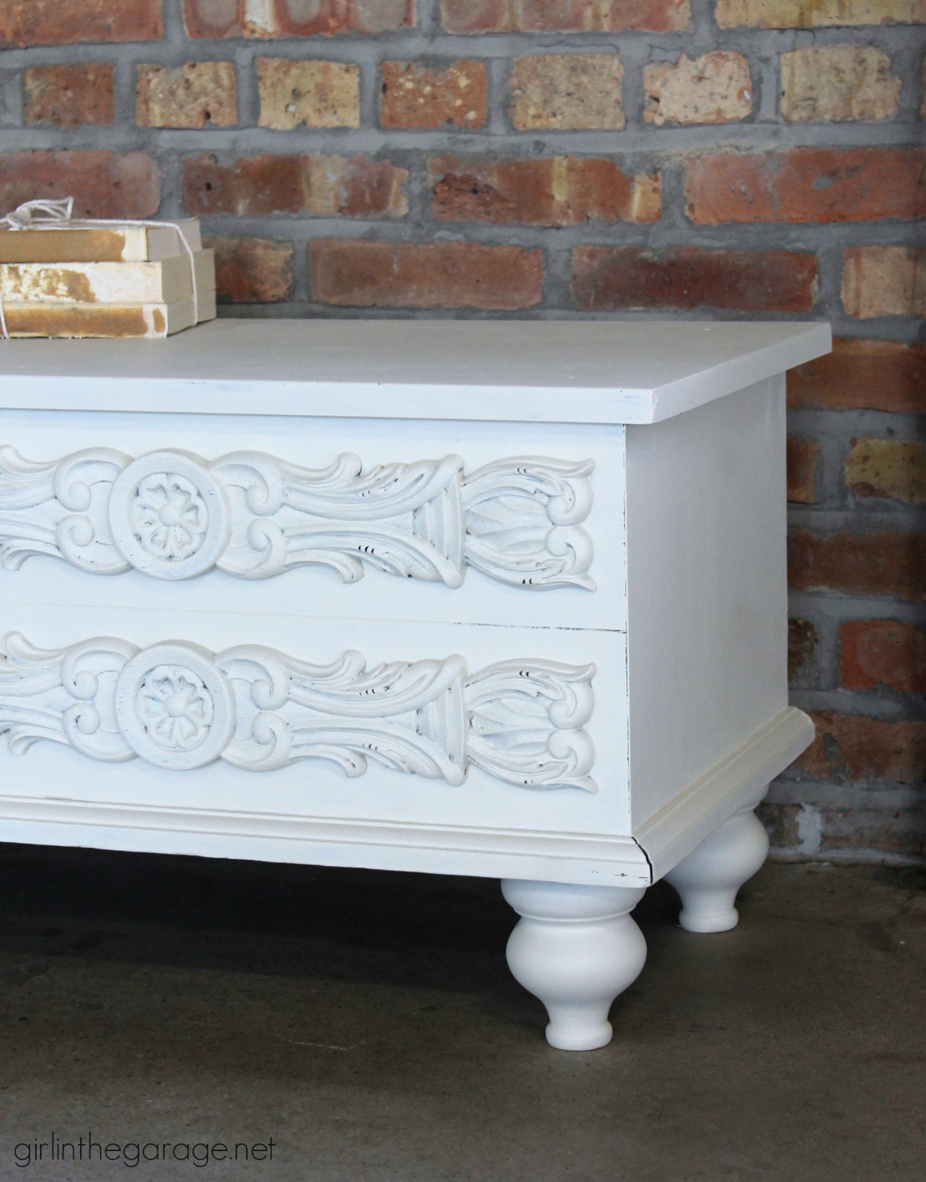 Painted vintage Lane chest makeover with added feet and Fusion Mineral Paint - by Girl in the Garage