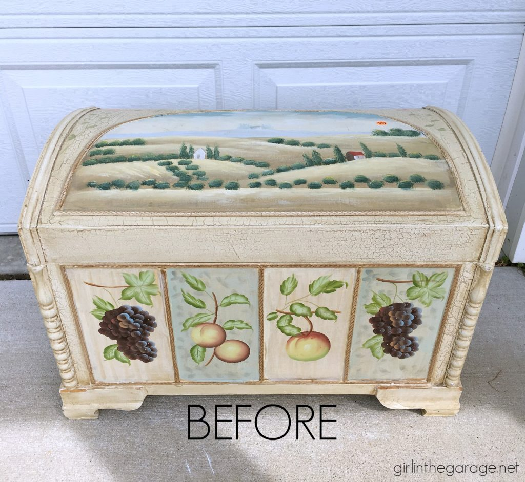 DIY chest makeover with easy layered paint technique tutorial. Girl in the Garage