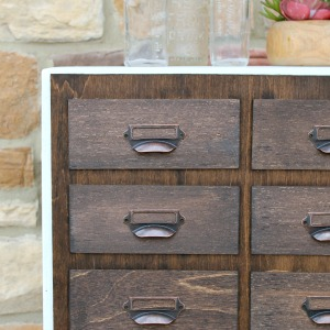 Bookcase Makeover to Faux Card Catalog