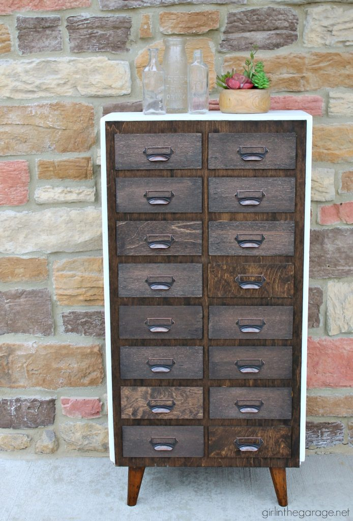 Vintage bookcase makeover to DIY faux card catalog - Girl in the Garage